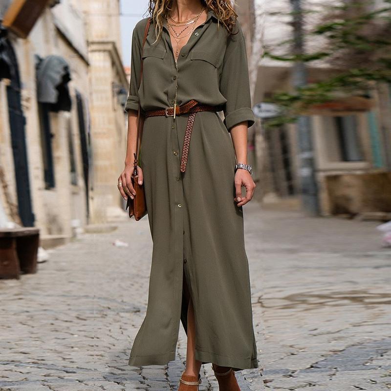 6e20bd239894 Acheter DeRuiLaDy 2018 Nouvelle Mode Femmes Casual Longue Robe Femmes  Automne Hiver À Manches Longues Bouton Chemise Maxi Robes Dames Vestido  Y190121 De ...