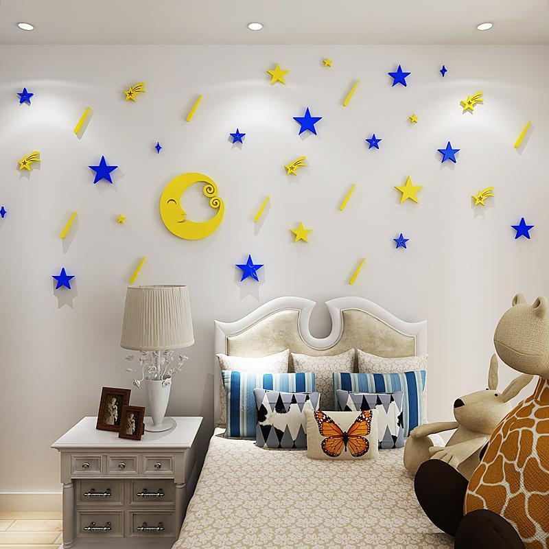 Meteor Acrylic Mirror Wall Stickers For Kids Room Kindergarten ...