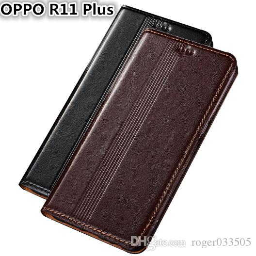 QX14 Genuine Leather Case For OPPO R11 Plus Cover Magnetic Case For OPPO R11 Plus Phone Case Fundas With Card Holder