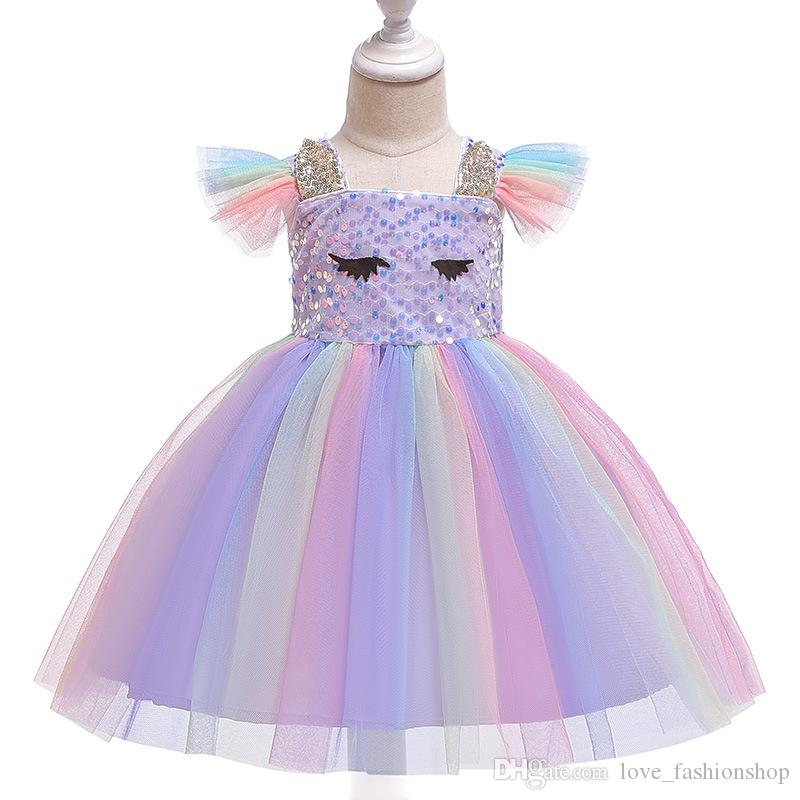 Retail kids designer dress girls sequins rainbow flying sleeves pleated pettiskirt princess dress baby girl costume cosplay boutique 50% off