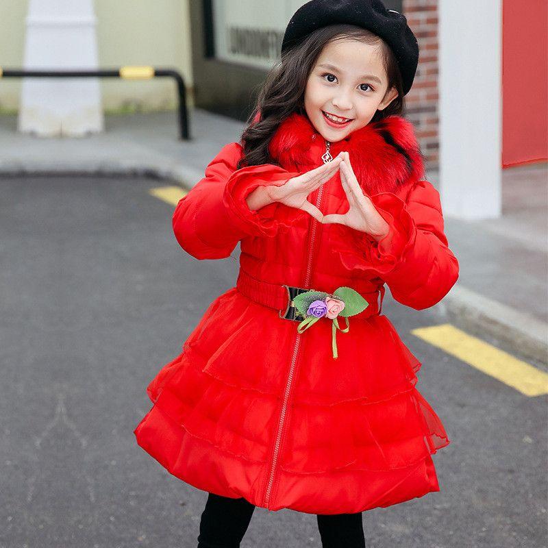 b925b2ca35b8 2019 Winter Baby Girls Thick Warm Coat Children Fur Collar Hooded ...