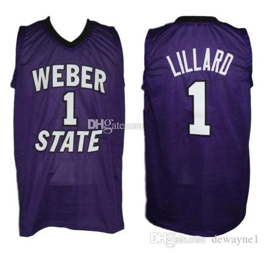 newest d22c1 a0582 Damian Lillard #1 Weber State Wildcats College Retro Basketball Jersey Men  s Stitched Custom Any Number Name Jerseys