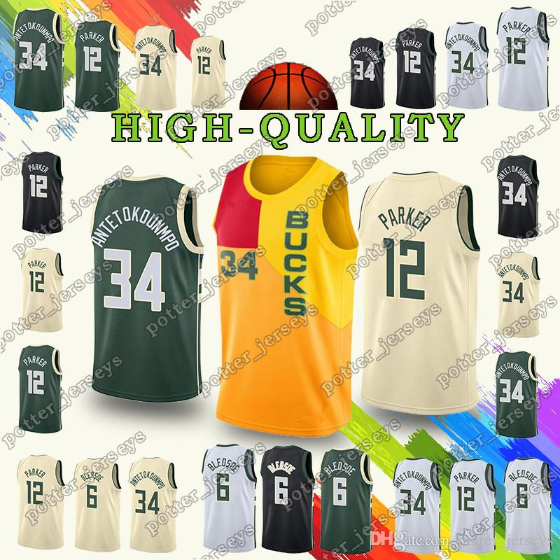 new product 321c7 12207 promotion Milwaukee 34 Giannis Eric Antetokounmpo jerseys Bucks 6 Bledsoe  34 Ray 2019 Allen jersey Youth Adult Cheap