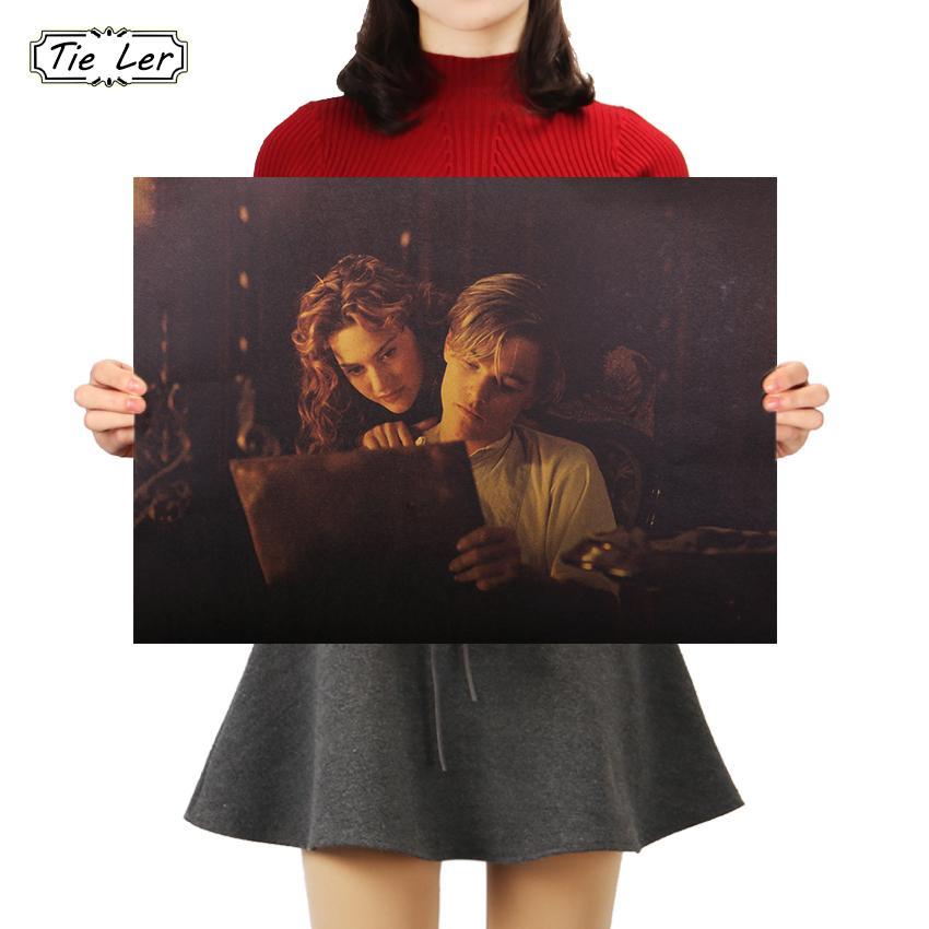 KRAWATTE LER Titanic Poster Nostalgische Klassische Film Kraftpapier Poster Retro Kraftpapier Malerei Dekor Wandaufkleber 51,5X36 cm