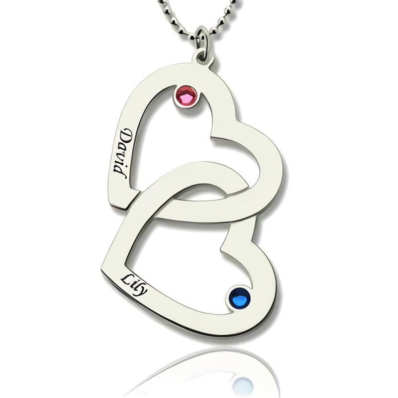 882ae3f5cb49 Compre Collar Personalizado Grabado Dos Collares Largos Del Corazón ...
