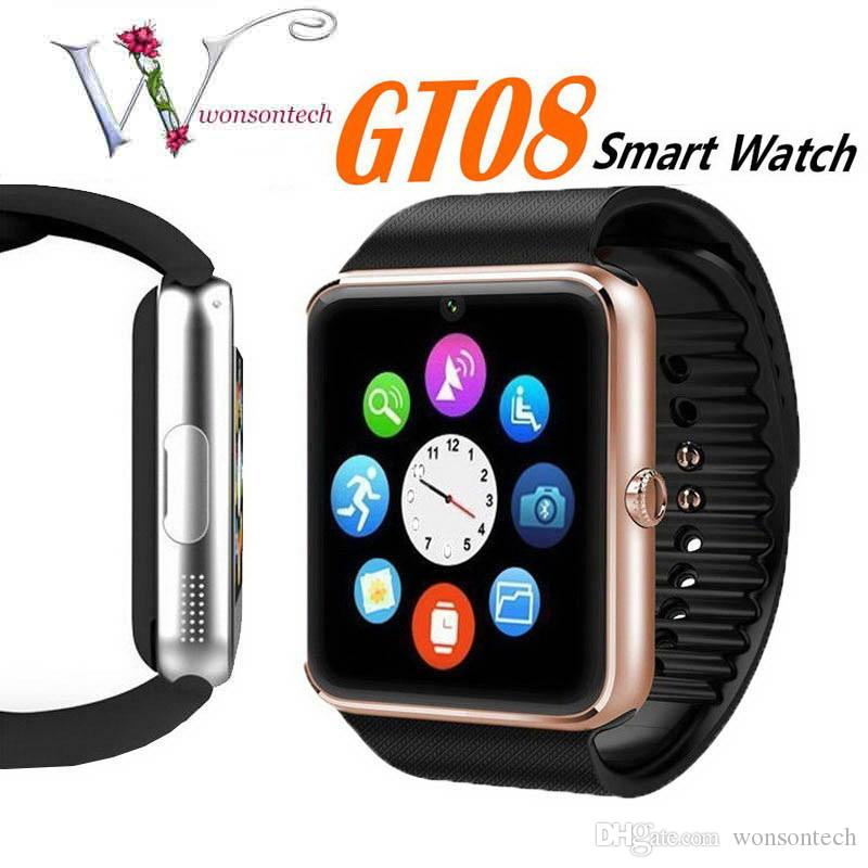 Smartwatch gt08 Bluetooth Smart Watch Telefoni Supporto GSM 32GB TF Card Touch Screen smartwatch Bluetooth con contapassi