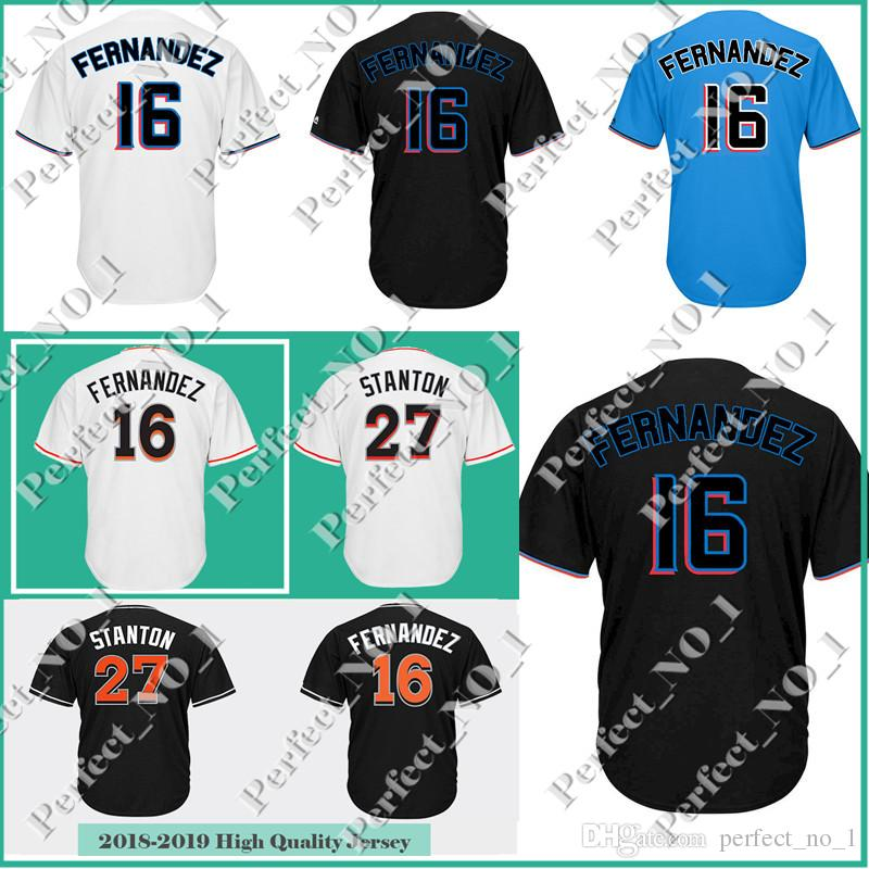 3327e199f29 2019 Men S Stitche Miami 27 Giancarlo Stanton 16 Jose Fernandez Marlins  Baseball Jerseys Majestic Black Alternate Cool Base Stitched Jerseys From  ...