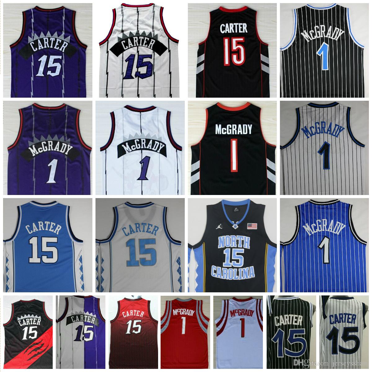501bc928a 2019 Top Quality  15 Vince Carter Jersey Cheap  1 Tracy McGrady Jersey  North Carolina College Mens Jersey Purple Black White Stitched Shirts From  ...