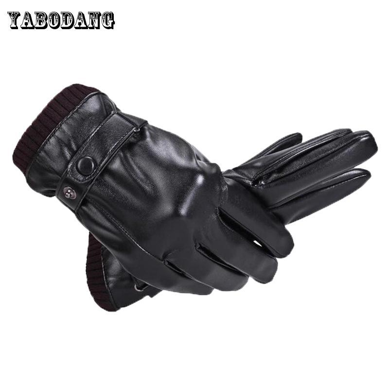 624ccf140c7b Yabodang hombres guantes de cuero genuino piel de oveja negro guantes de  pantalla táctil botón de la marca de moda de invierno cálido mitones nuevo