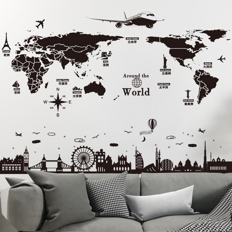 shijuehezi world map wall stickers diy europe style buildings mural