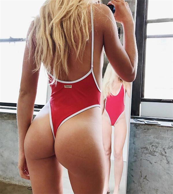 섹시한 블랙 하이 컷 여성 수영복 여성 수영복 수영 2019 등이없는 모노 키니 착용을위한 원피스 수영복