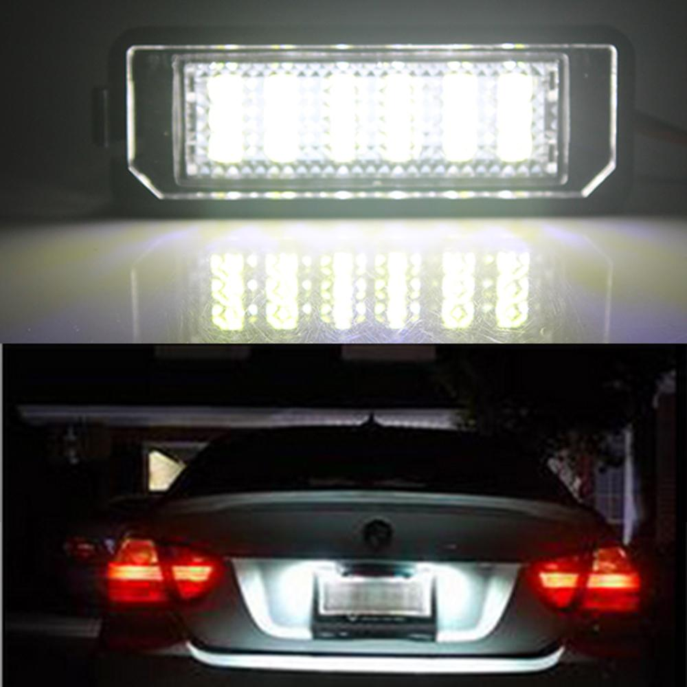 2pcs/lot Super Bright Car Number Plate Light For Scirocco Golf 4 5 6 GTI Car Styling LED Car License Plate Lights For Porsche SMD 3528