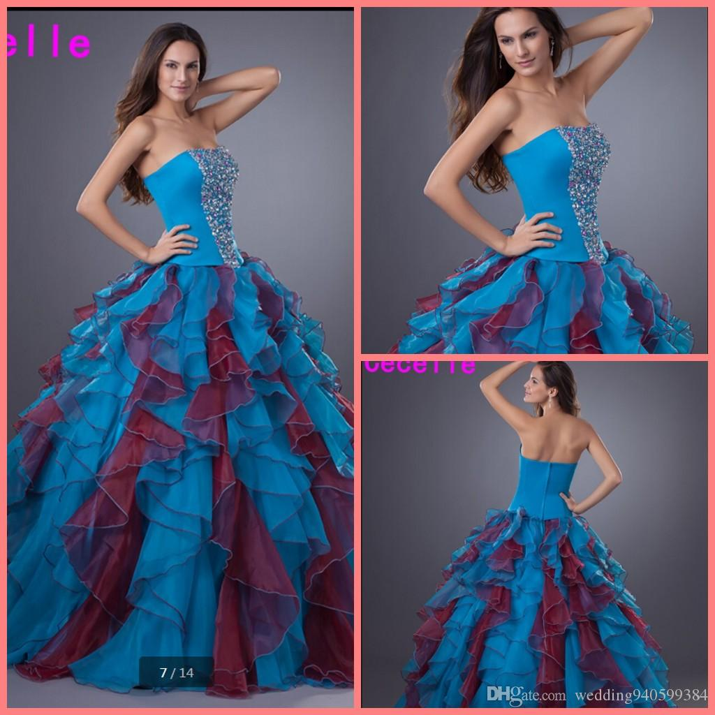 2019 robe de soiree ball gown ruffled beaded crystals quinceanera dress prom gowns strapless with sequins princess puffy prom gowns hot sale