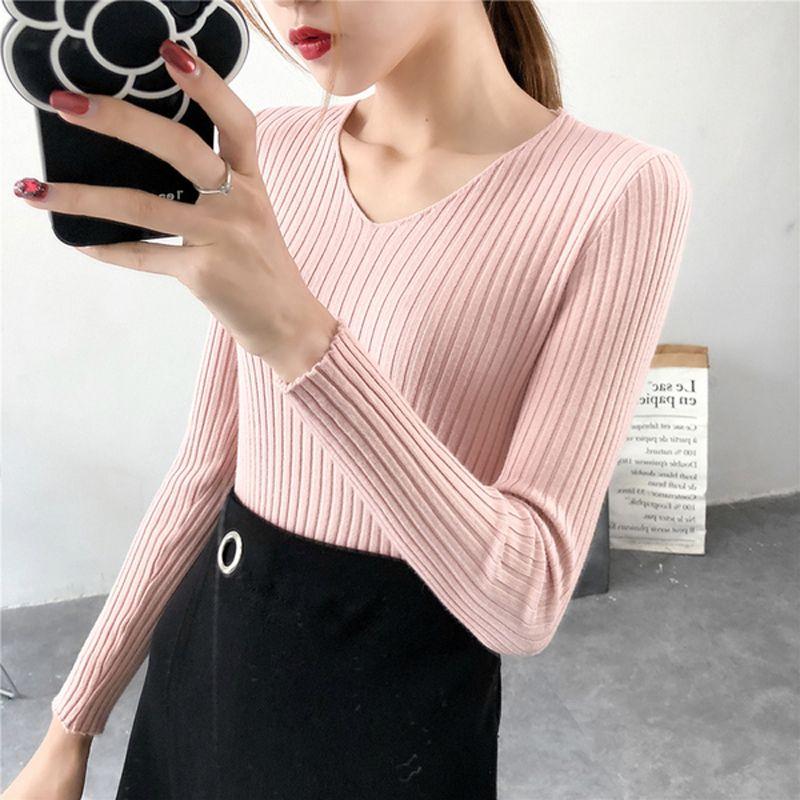 dc9d6f935d6d31 Mode-Pullover Frauen Herbst Winter Korean Fashion V-Ausschnitt Langärmelige  Pullover Pullover schlanke warme Pullover weibliche Jumper Frau Blusa