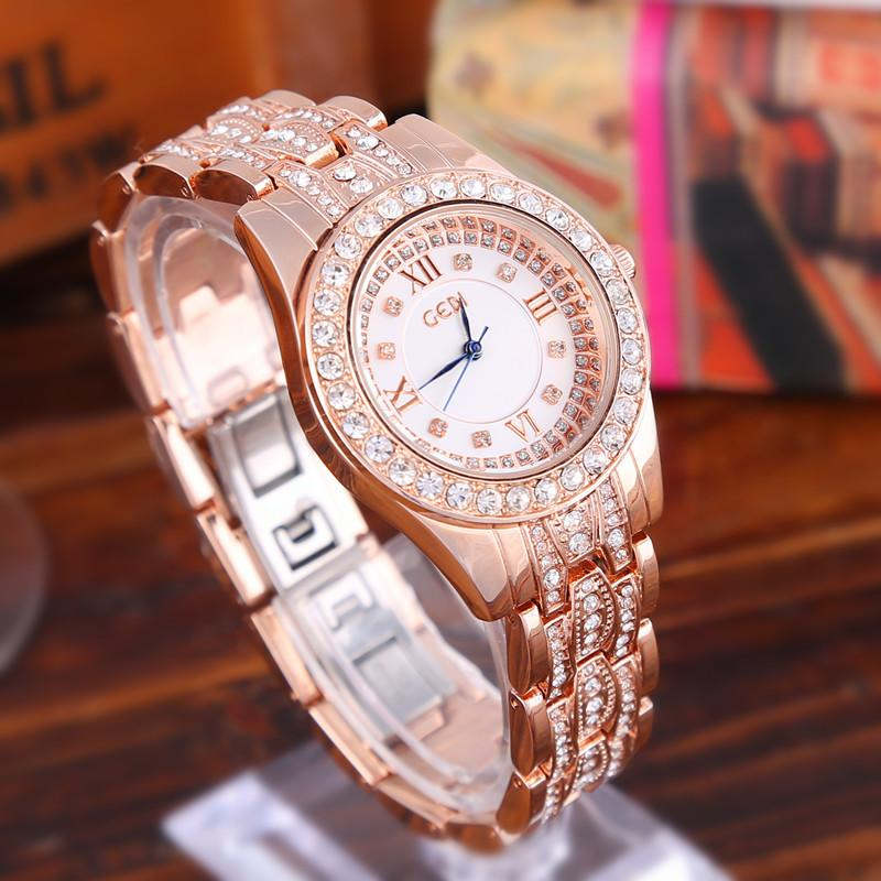 Silver Luxury Women Dress Watch Rhinestone Ceramic Crystal Quartz Watches Magic Women Wrist Watch Female