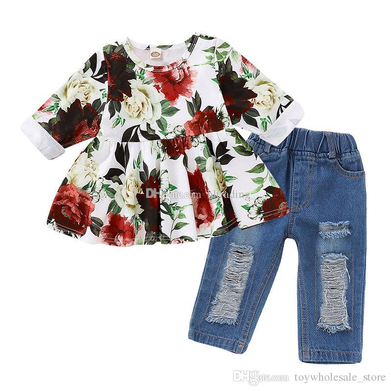83593b170e36a kids designer clothes girls outfits children Floral dress Tops Hole denim  pants 2pcs/set 2019 fashion baby Clothing Sets 2 styles C6571