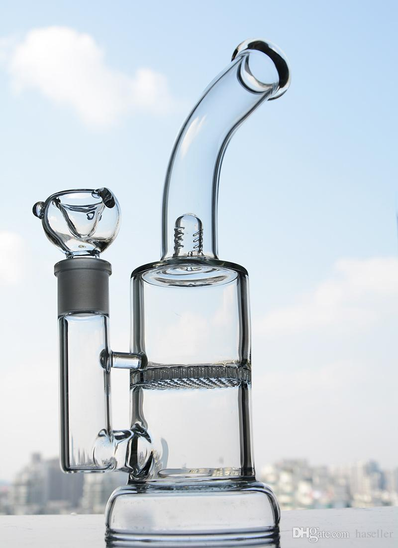 New Thick Unique Bongs Water Pipe Smoking Honeycomb Water Bong Glass Dab Pipe Percolator Rigs With 14mm Bowl Hookahs Shisha 11.8 Inchs