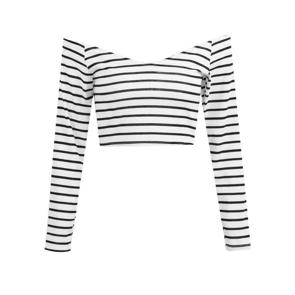 0eda4745a85f Sexy Women Off Shoulder T Shirt Long Sleeve Striped Crop Top Wide V Neck  Slim Cotton Ribbed Tops White Cropped Tee Shirt Femme T Shirt Deals Humor  Shirts ...