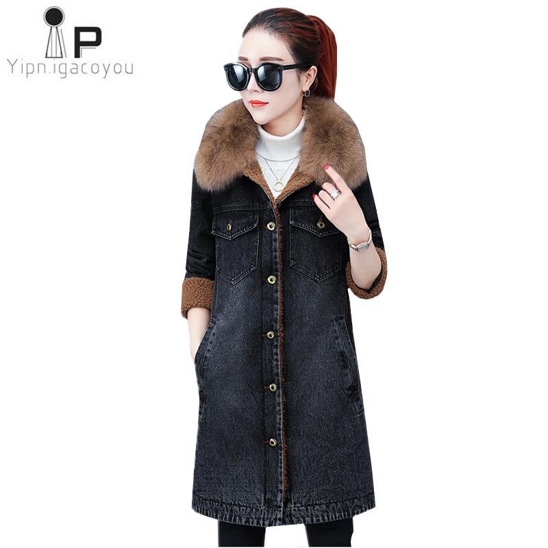 ef3840fbdabc Big Fur Collar Lambswool Black Denim Jacket Women Winter Plus Velvet Long  Coat Warm Jeans Jacket High Quality Women Denim Coat Jackets And Coats  Women ...