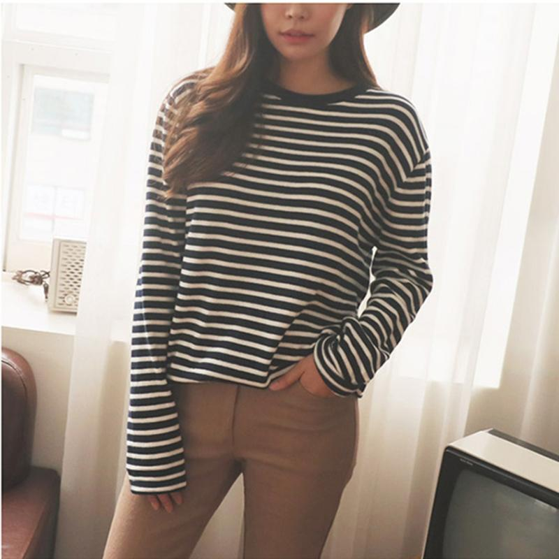 ac1366e94e7231 2018 White Thick Striped Cotton T Shirts Woman Long Sleeve Spring Soft O  Neck Loose Casual Tees Tops Black Y18122101 Online T Shirt Printing On T  Shirts ...
