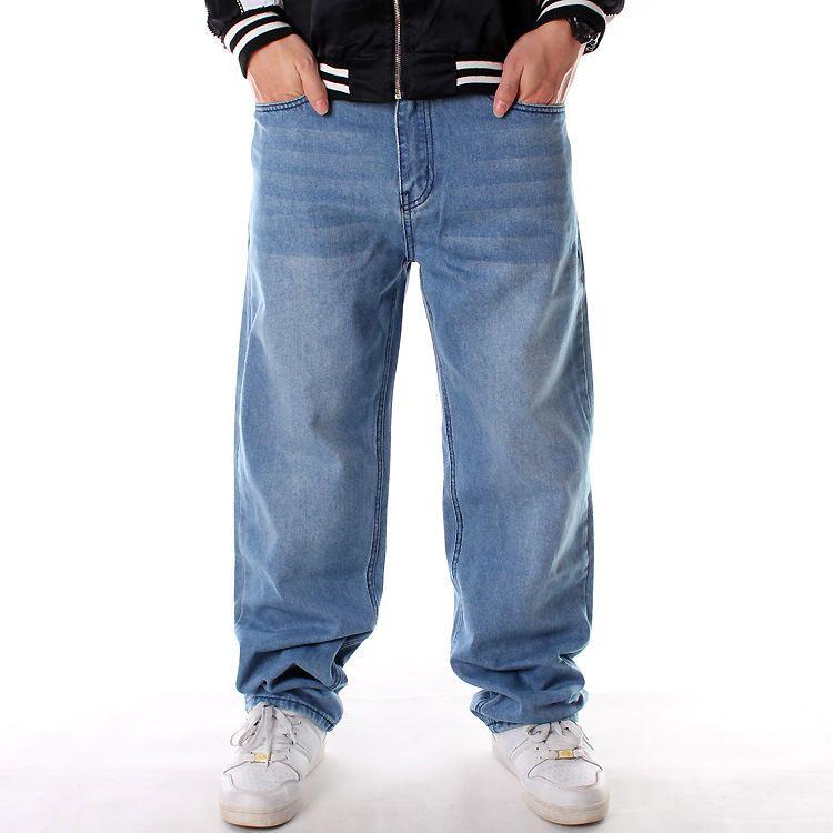 d9201edf 2019 2019 New Loose Big Men Large Size Hip Hop Skateboard Baggy Denim Pants  Rap Jeans Street Fashion Blue Denim Pants Male Streetwear From Baicao, ...