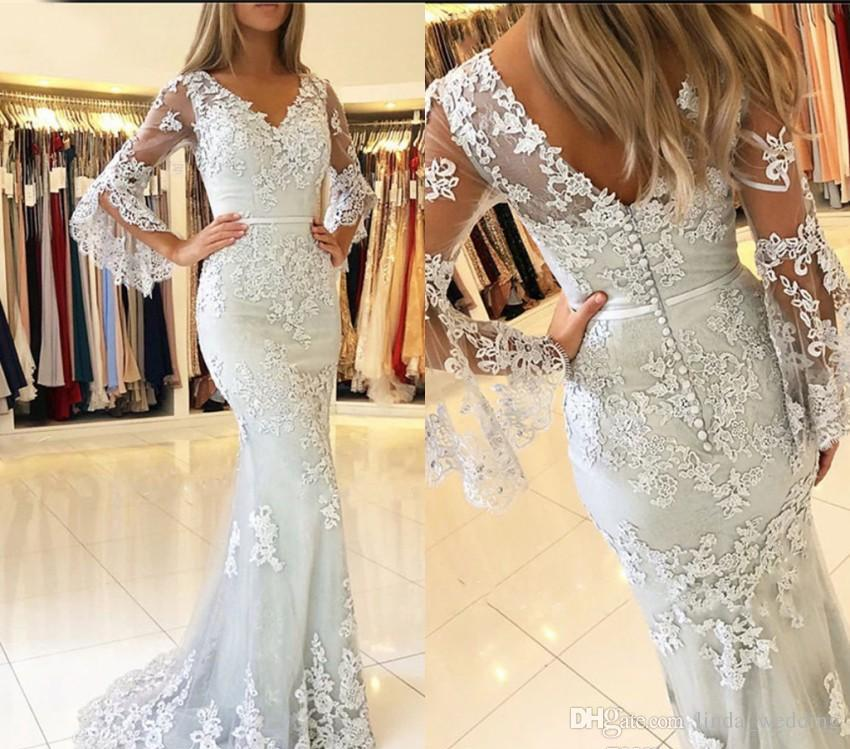 Simple Wedding Dress For Godmother: Elegant Long Sleeves Mother Of The Bride Dresses 2019