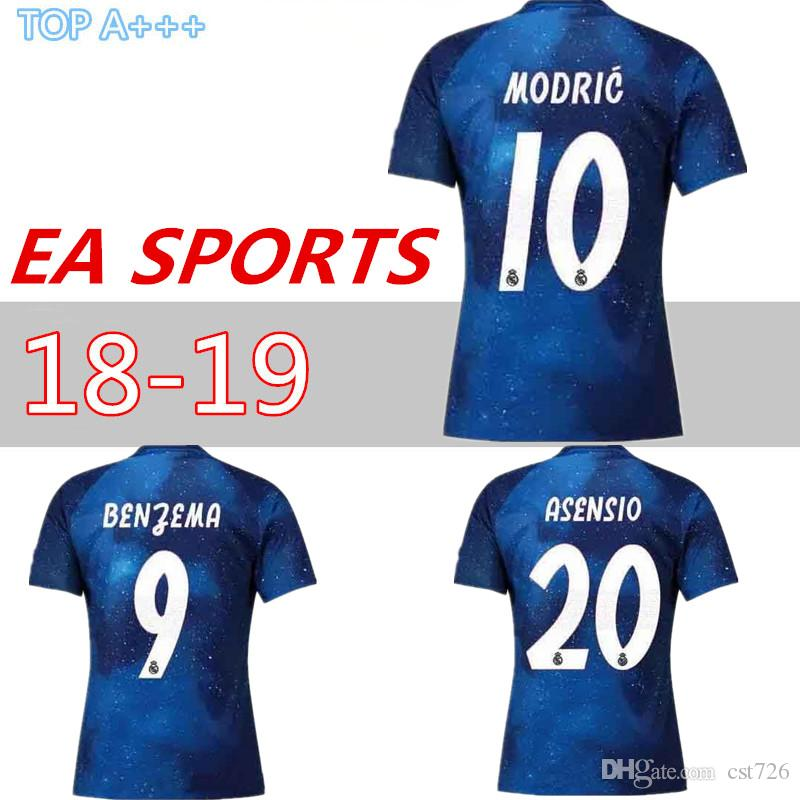 huge selection of 51c76 cf8a3 Real Madrid EA Sports Jersey MODRIC MARIANO ASENSIO BALE Champion league 18  19 football shirts men women kids top thailand quality camisetas