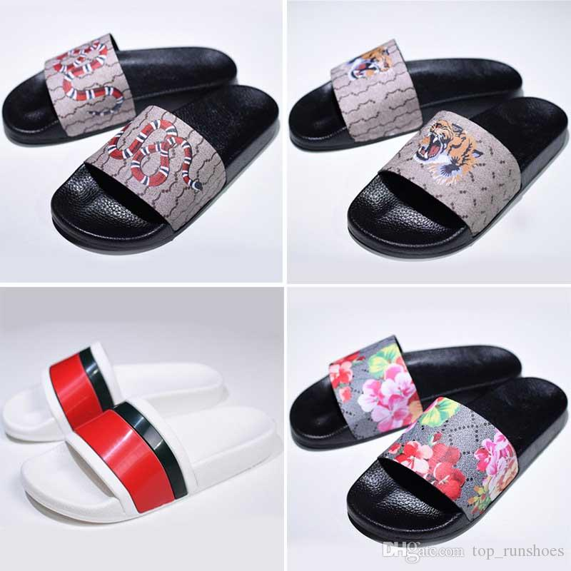 ea9f0cf1e41d Luxury Designer Rubber Slide Sandal Floral Brocade Men Slipper Gear Bottoms  Flip Flops Women Striped Beach Causal Slippers With Box Eur36 45 Winter  Boots ...