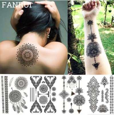 Lace Black Henna Tattoo Aufkleber Eule Mandala Wasserdichte Fake Tattoo Body Art Frauen 20x15 CM Mehndi Armband Tatoo