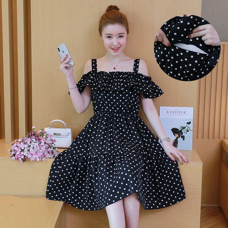 8df76c2e918 2019 Pengpious 2019 Summer Pregnant Women Polka Dot Breastfeeding  Shoulderless Chiffon Zipper Nursing Dress Lactation Ruffles Shirts From  Windowplant, ...