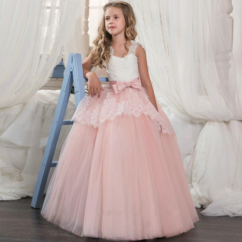 c00e7b00f19b 2019 Flower Girl Dresses Princess Gold Appliques Pink Jewel Neck Lace Strap  Tulle Ball Gown Girl Pageant Party Dress Wedding Gown Bow Dresses Girls ...
