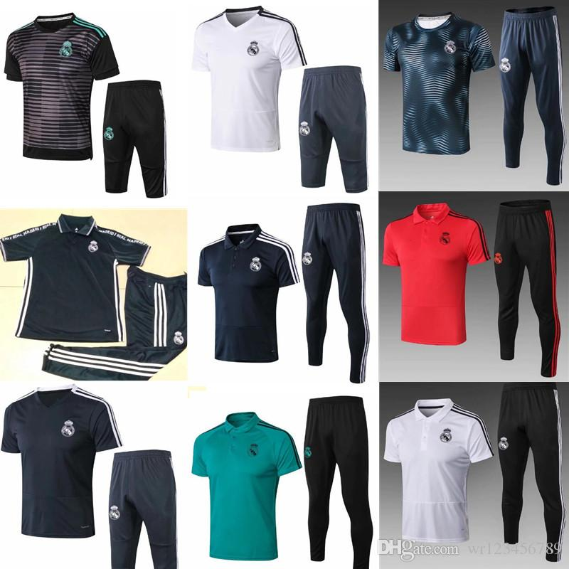 brand new 251ff e1c49 2018-19 Real Madrid Short Sleeve Training Suit 3/4 Pants kit 18 19 psg  Chandal Uniforms Maillot de foot Survetement Football shirts