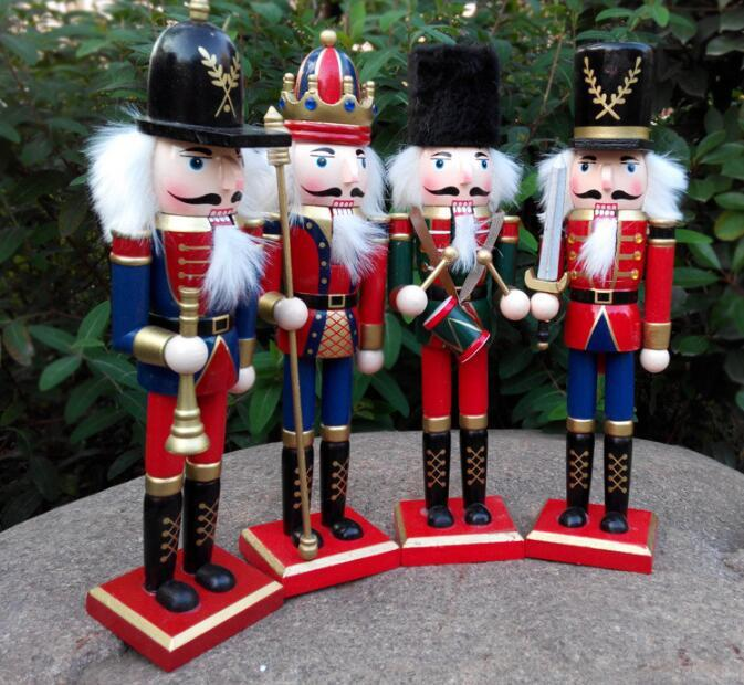 30CM Wooden Christmas Nutcracker Soldiers Puppet Zakka Creative Desktop  Decoration Large Size Christmas Ornaments Drawing Walnuts Soldier222 Silver  ... - 30CM Wooden Christmas Nutcracker Soldiers Puppet Zakka Creative