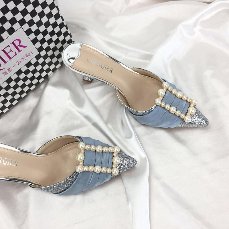 2019 Brand fashion stilettos baotou sequins pearl high-heeled sandals 6 cm heel not lace-up looping silver high-heeled sandals