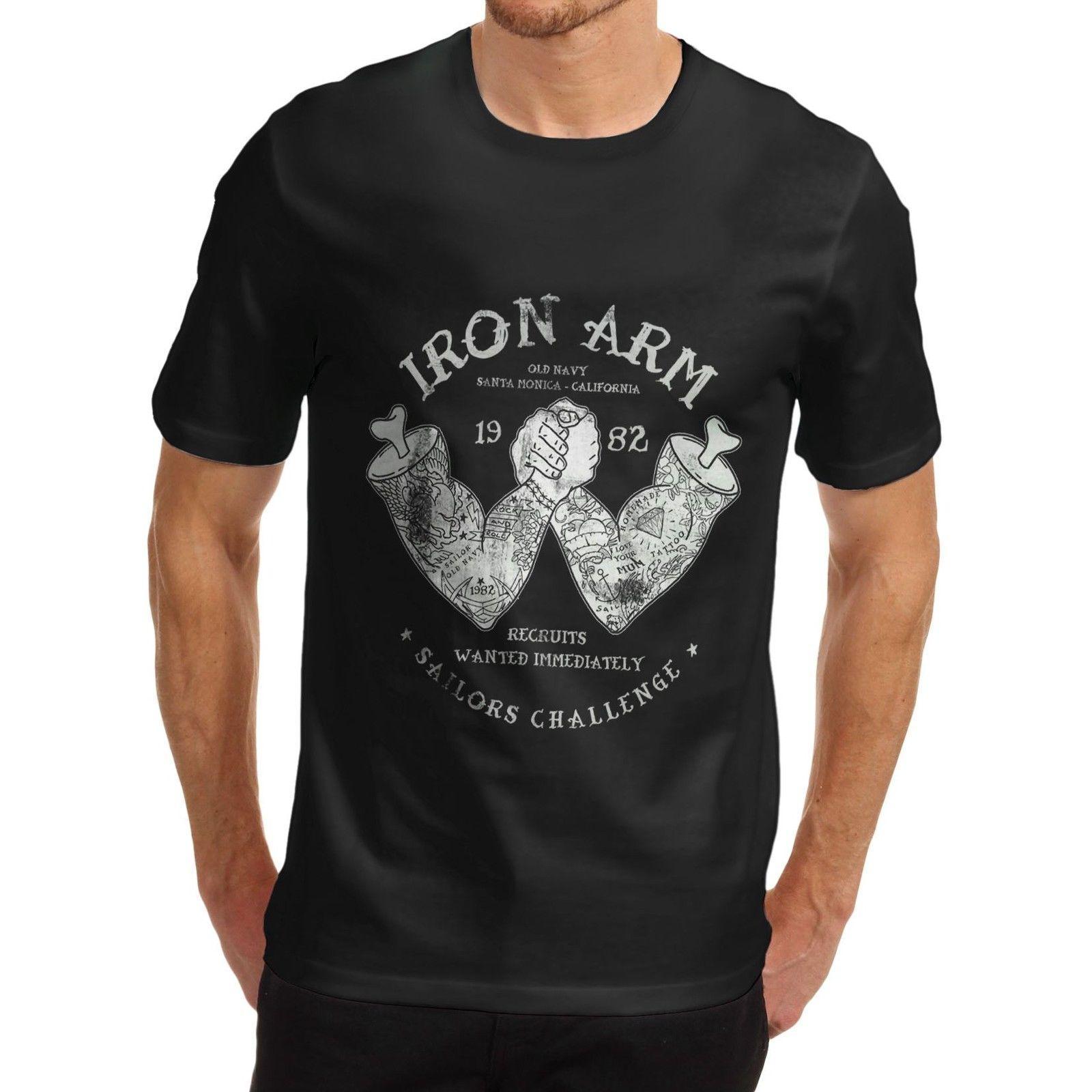 Algodão Dos Homens Dos Desenhos Animados Tatuagem Braço De Ferro Revenda Engraçado T Shirt