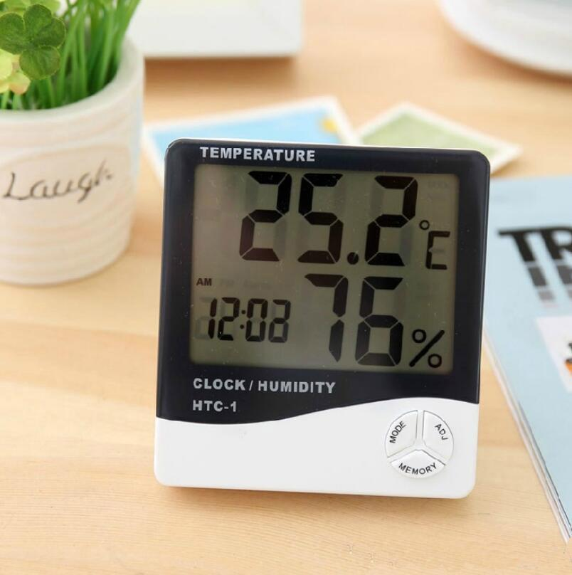Digital Weather Station Indoor Digital C/F Thermometer Hygrometer Clock Office LCD Temperature Humidity Meter Monitor