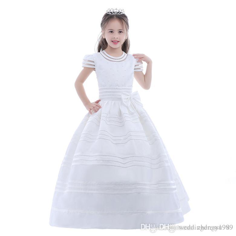 Flower Girl Dresses Square Neckline Ball Gown Tulle First Communion Dress For Weddings Cheap Lace Back With Sash