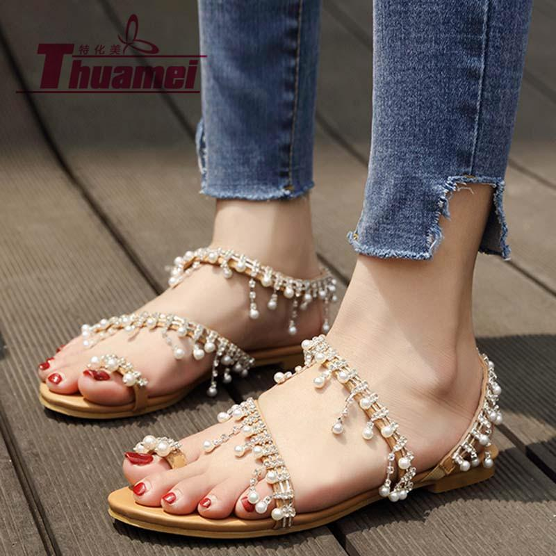 418ccaf043d8 Women Sandals Ankle Strap Flat Bead Classic Pearl Buckle Strap Fashion Shoes  Woman Plus Size 41 42 43  Y0305328Q Jesus Sandals Black Wedges From  Clownie