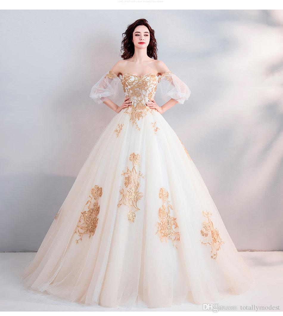 2019 New Gold Lace Ball Gown Wedding Dress Short Sleeves off the Shoulder Dubai Arabic Women Princess Non White Bridal Gowns Cheap