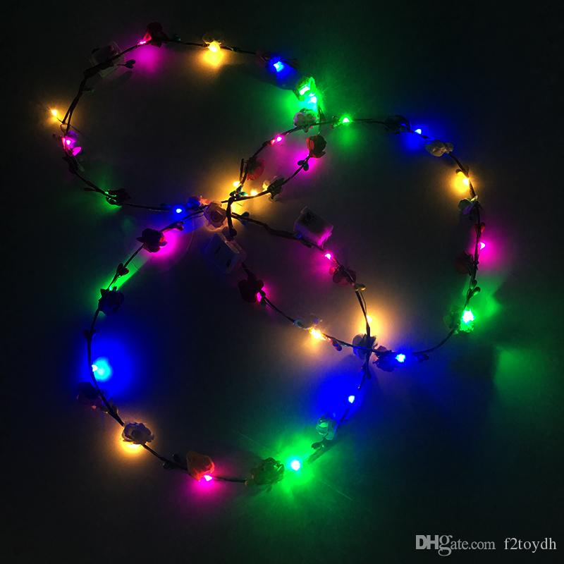 Flashing LED Hairbands Strings Glow Flower Crown Headbands Party Decoration Rave Floral Hair Lighting Garland Luminous Wreath Hair