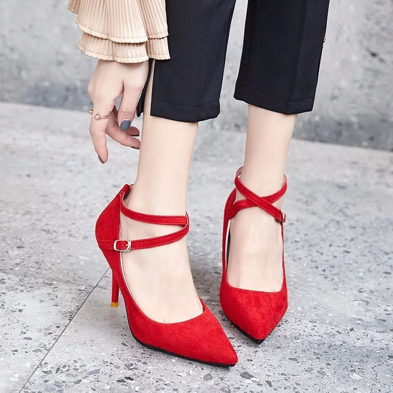 a712e3e8bd8 Dress Shoes Eoeodoit 2019 New Spring Leather Boots Pumps Sexy Pointy Toe  Buckles High Stiletto Metal Heel Pumps Summer Women Sandals Italian Shoes  Summer ...