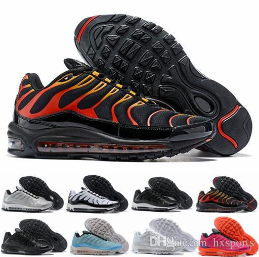 quality design ddf82 56c17 2018 New 97 Tuned 1 Hybird Mens Women Running Shoes 97s Tns Fashion White  Balck Shock Sliver Trainers Sports Air Sneakers