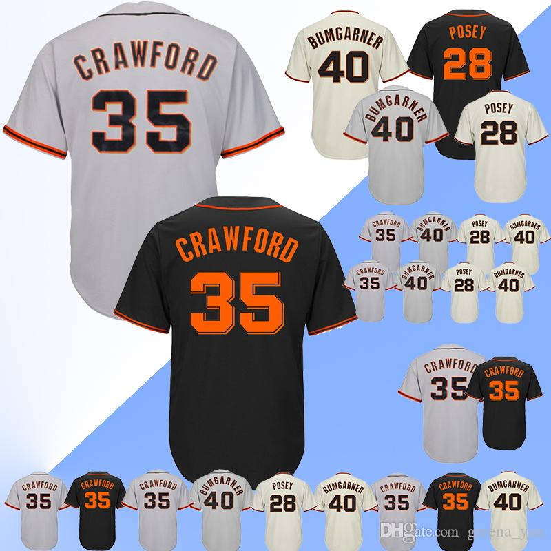 online store e29c9 62740 TOP San Francisco Giants Baseball Jersey 35 Brandon Crawford 40 Madison  Bumgarner Baseball Jerseys Top quality Adult shirt