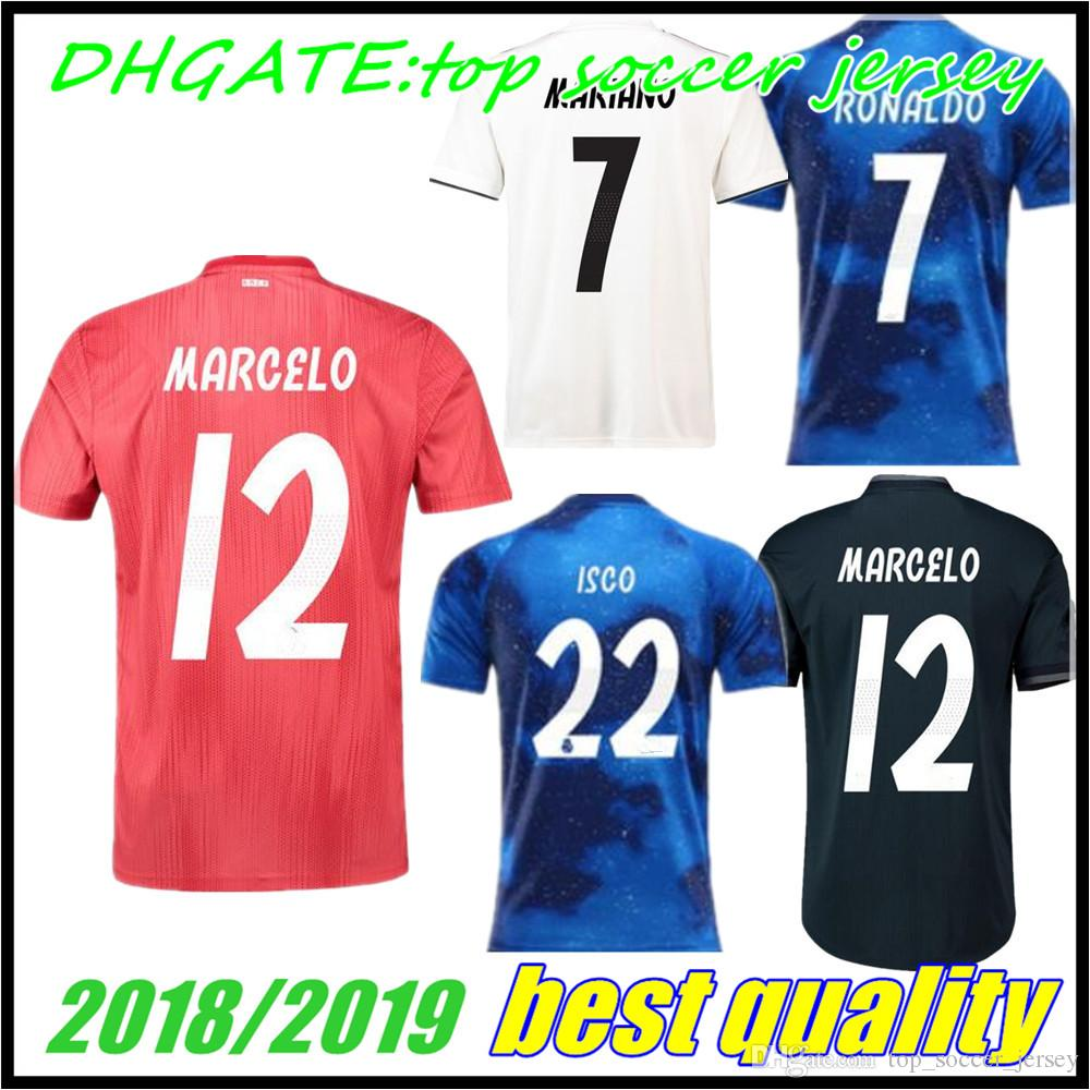 2019 2018 2019 Real Madrid Blue Third Red Kids Soccer Jersey 18 19 BENZEMA  ISCO BALE SERGIO RAMOS MORATA ASENSIO MODRIC Football Shirt From ... 88eaf9f60