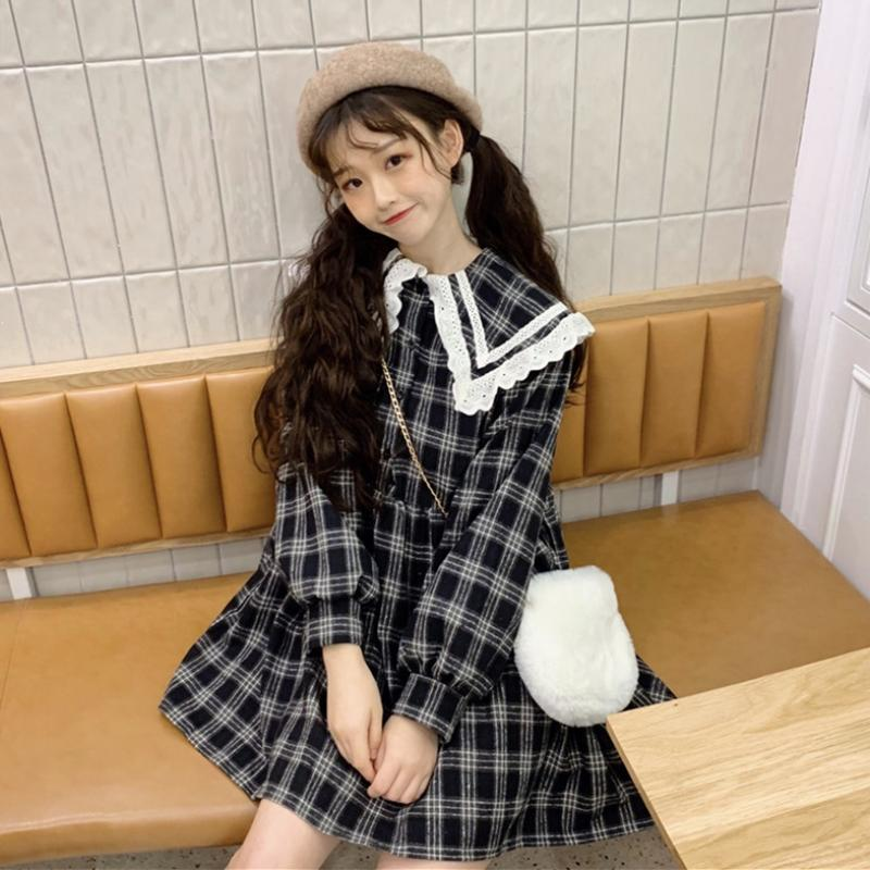 ba9024c8751 Autumn Women s Clothing Japan Sweet women dress loose ulzzang vintage Plaid  Lace Peter pan Collar Lantern Sleeve New Dresses