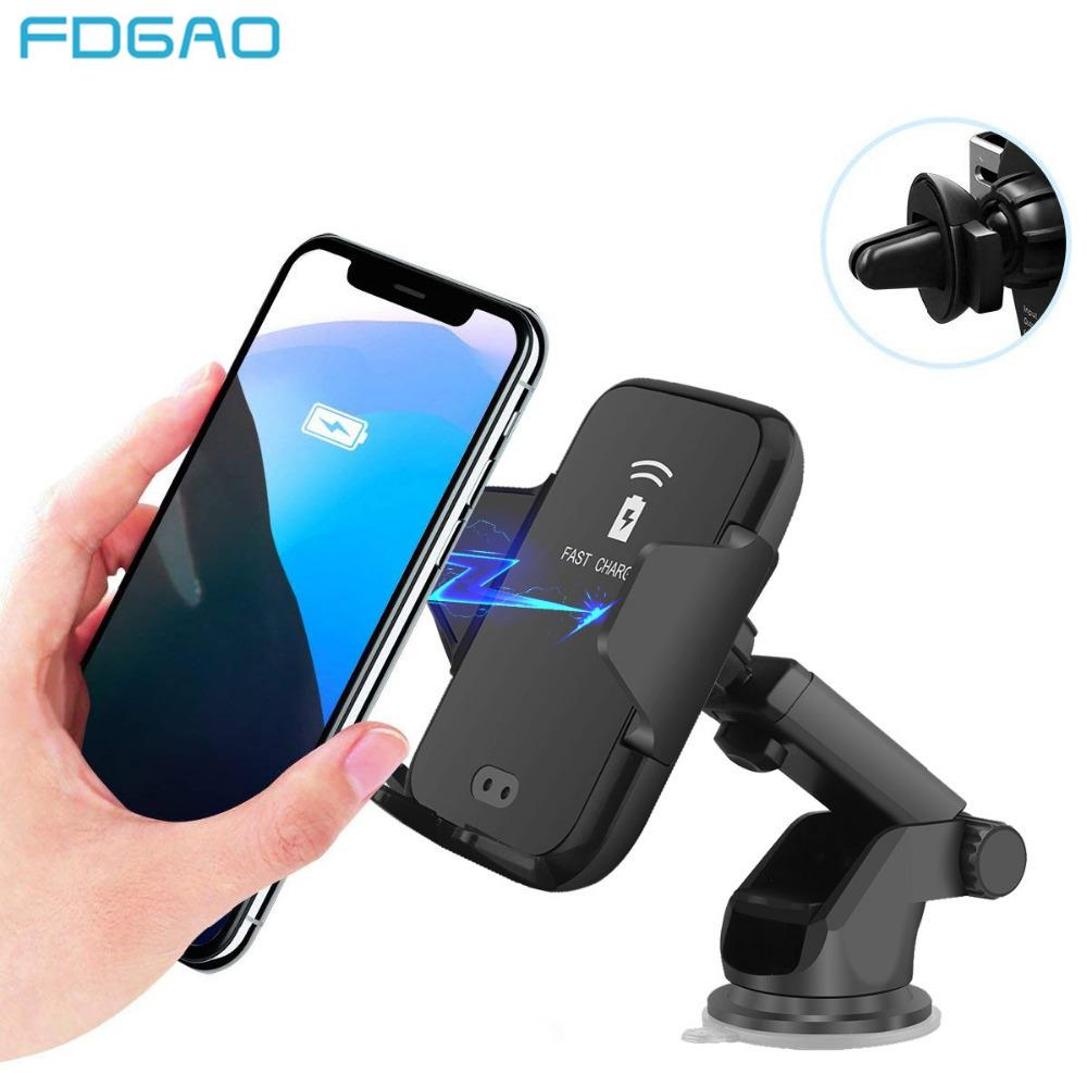Fdgao Automatic Qi Car Wireless Charger Holder per Iphone Xr Xs Max 8 X 10w Fast Mount Stand di ricarica per Samsung S9 S8 Note 9 8 J190427
