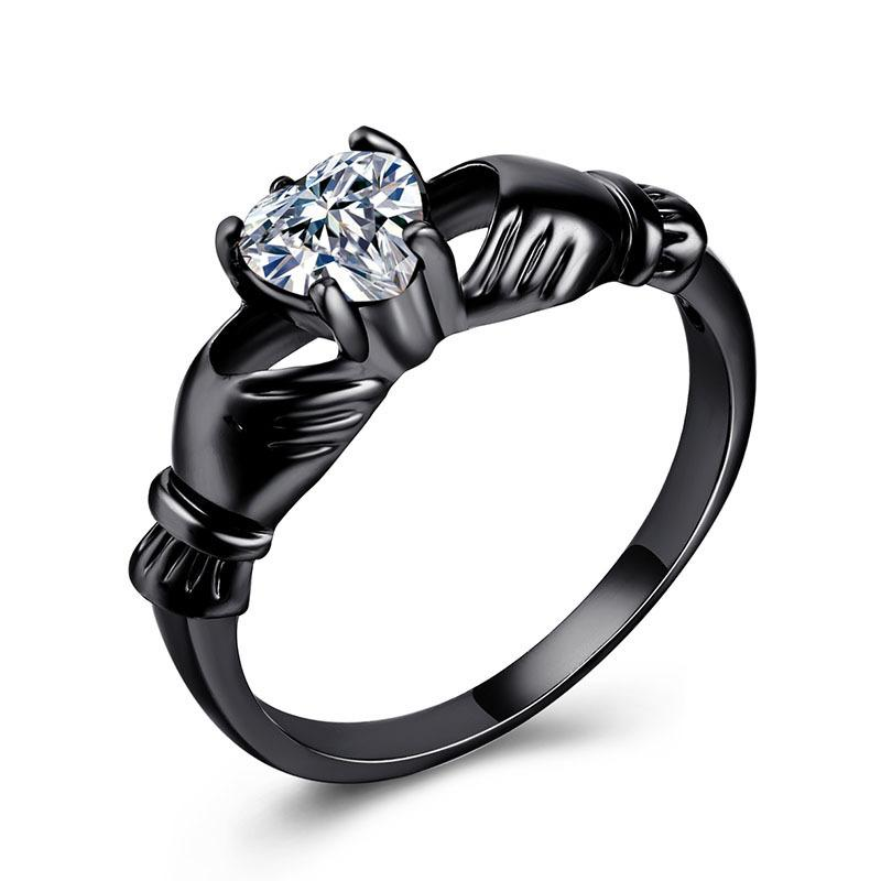European Originality Heart Shaped Zirconium Stone Ring Plating Black Gold Jewel Ornaments