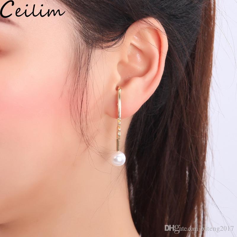 82a1dc9330bb8 New Trendy Elegant Girls Pearl Dangle Earrings Korea Style Brincos  Irregular Geometry Drop Earrings Fashion Jewelry Gift For Women