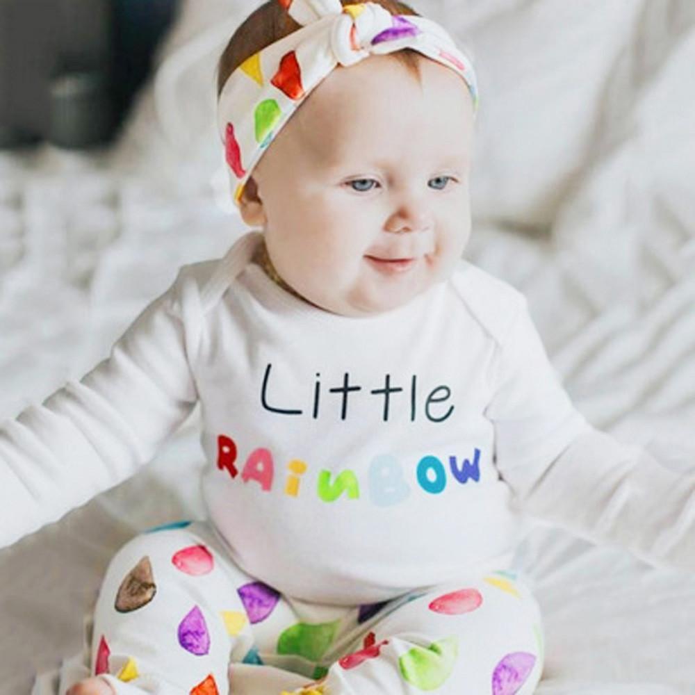 22c67d49f25e 2019 Good Quality Infant Baby Clothes Girls Boys Clothing Set Letter  Raindrops Print Romper Jumpsuit Pants Outfits Set Kids Winter From  Superbest12