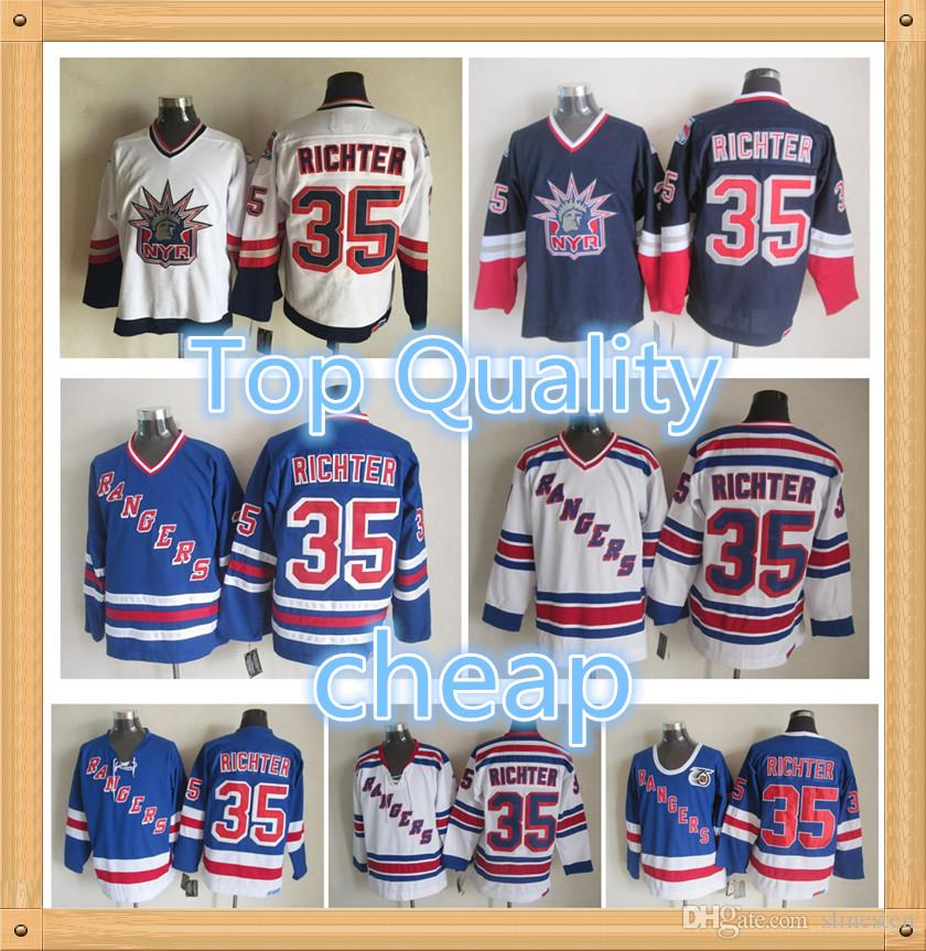 buy online f6224 2c601 Top Quality ! Retro New York Rangers Jersey 35 Mike Richter 1998 Statue Of  Liberty Vintage CCM Authentic Stitched Ice Hockey Jerseys